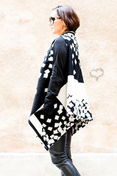 Black and White Woolen Vest/Sleeveless  coat/High by FIVELEMENT