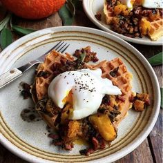 How do you like your eggs in the morning? Free range on Cornmeal Waffles, alongside Sage, Bacon and Pumpkin Compote of course! Made with our #NoMessWaffleMaker http://www.sageappliances.co.uk/the-no-mess-waffletm.html by @lavenderandlovage