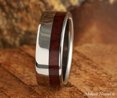 Hawaiian Jewelry 8mm Cocobolo Inlaid Titianium Polished Ring - Makani Hawaii,Hawaiian Heirloom Jewelry Wholesaler and Manufacturer