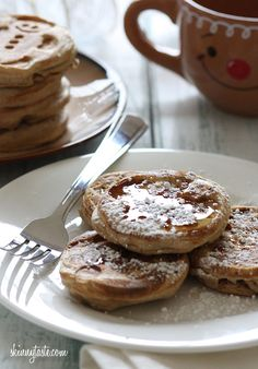 Eggnog Pancakes -  I swapped out the milk in my whole wheat pancake recipe and replaced it with Silk Nog and some extra nutmeg for a fun Holiday twist. #weightwatchers
