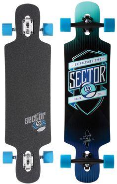 "Sector 9 Sprocket 38.5"" Platinum Drop Through Complete Longboard - blue / silver trucks / blue wheels - Skate Shop Completes Longboard Completes"