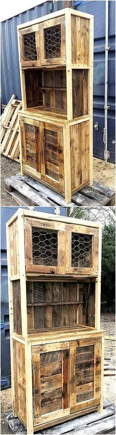 Amazing Creations with Recycled Wood Pallets In this idea of the rustic wood pallet cabinet you can view the excess of the drawers and cabinets that are used in it. It is a form of the long giant cupboard that is much design in the old fashion wood pallet Pallet Crafts, Diy Pallet Projects, Home Projects, Woodworking Projects, Woodworking Furniture, Rustic Storage Cabinets, Pallet Cabinet, Pallet Storage, Pallet Shelves