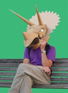 Dinosaurs - Welcome to Wild Card Creations, the home of fabulous cardboard dinosaur helmets Cardboard Costume, Cardboard Mask, Cardboard Sculpture, Cardboard Crafts, Dinosaur Mask, Dinosaur Costume, Dinosaur Crafts, Dinosaur Dinosaur, Dinosaur Birthday Party