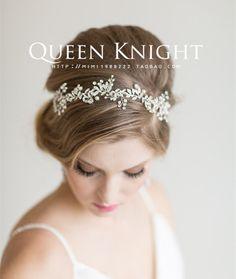 Европейские и американские высокого класса кристалл алмаза лист ветви красивая романтическая невеста вышла замуж за волосы группы головной убор этап Фото - Taobao