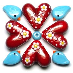 Hearts & Chirrups ~ Lampwork glass beads by Laura Sparling