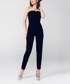Black Strapless Jumpsuit by Peperuna #zulily #zulilyfinds