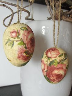Pink roses #decoupage eggs. #home #decor