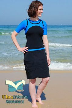 Black Swim Skirt - Chlorine Proof - Skirts - BOTTOMS - $62 (as of July 2013). From Hydrochic.com.  Modest swimwear - long skirts and  modest tops!