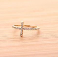 SIDEWAYS CROSS with ring with swarovski crystal in gold by bythecoco on Zibbet on Wanelo