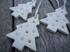 3 x Christmas Tree Clay Ornament by MYMIMISTAR on Etsy