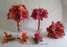 sharon nagassar designs silk, latex, real touch, custom wedding flowers - Papaya-Orange, Hot Pink-Fuchsia, Gerbera Daisies, Oriental/Asian Lilies and Roses Collection
