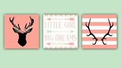 Now for sale on URCrafti.com See Baby Girl Nursery Decor - Coral and Mint - Antlers - Deer Head - Arrows -Little Girl Big Dreams - Nursery Quote Set of Three 12x12 Prints Here https://urcrafti.com/product/baby-girl-nursery-decor-coral-and-mint-antlers-deer-head-arrows-little-girl-big-dreams-nursery-quote-set-of-three-12x12-prints/ %HTAgs%