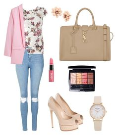 """""""Untitled #818"""" by mariafilomena471 ❤ liked on Polyvore featuring Topshop, Billie & Blossom, Casadei, Yves Saint Laurent, NYX, Christian Dior and Betsey Johnson"""