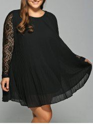 Lace Spliced Pleated Plus Size Mini Swing Dress - BLACK 3XL