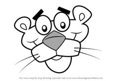 Learn How to Draw Pink Panther Face (Pink Panther) Step by Step : Drawing Tutorials