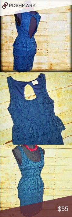 "30%/2Sexy Lace Open Back Mini Dress Homecoming Just listed! Simply Stunning teal/turquoise lace dress for Urban Outfitters by Pins and Needles . What a fun and flirty dress for fall! Featuring an eye-catching cut-out back and a figure-flattering small peplum. Size Small. 90% cotton/ 10% Nylon body and fully lined with 100% Polyester. Back zipper. No rips stains or obvious signs of wear. Beautiful Teal blue/green color. Approximate flat measurements, unstretched: bust 16"" length 33"". A…"