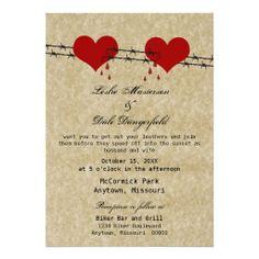 Barbed Wire Hearts Tattoo Biker Wedding Invite