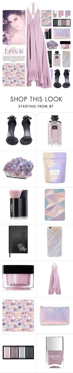 """""""[344]"""" by yuuurei ❤ liked on Polyvore featuring Stuart Weitzman, Gucci, Forever 21, Yves Saint Laurent, Clé de Peau Beauté, Sloane Stationery, Givenchy, Loup Charmant and Nails Inc."""