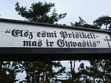 """Written in Prussian Lithuanian at the entrance to the Nida cemetery. (Old Prussian is an extinct Baltic language) It says, """"I am Resurrection and Life""""."""