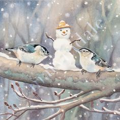 """OH MY!! So CUTE!! """"nuthatches in winter"""" by Cori Lee Marvin"""