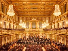 Vienna philharmonic @ their home in Musikverein concert hall, Vien, Austria. Of course, they played the Blue Danube! We sat way up front, to the right! Online Tickets, Buy Tickets, Golden Hall, Wiener Philharmoniker, Vienna Philharmonic, Vienna State Opera, Slider, Paisajes, Vienna
