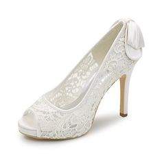 5954f29dbed3c Ericdress Charming Lace Back Bowtie Wedding Shoes Cheap Bridal Shoes