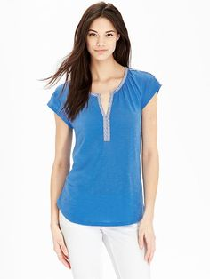 Women's Embroidered-Trim Jersey Tops Product Image