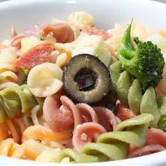 The Ultimate Pasta Salad Allrecipes.com  This is my go-to pasta salad. I love this recipe, but I do add a half bottle of Trader Joes Tuscan Italian dressing. that really makes it!