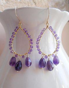 Chantal boho gemstone chandelier earrings purple dangle drop