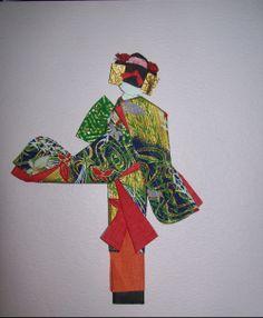 "Made in Japan Japanese 8.5/""H Kokeshi Washi Paper Ningyo Doll Floral Kimono Girl"