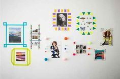 Instead of hanging pictures in frames, use washi tape to make a customized frame.