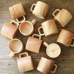 Wooden mugs.