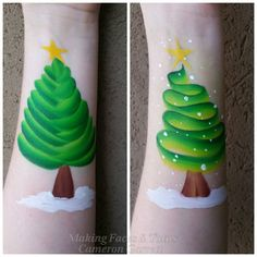 How wonderful is this - one stroke Christmas Trees - http://sillyfarm.com/shop/face-painting-supplies/rainbow-arty-cakes/arty-brush-cakes/bright-leaf-arty-brush-cake  www.sillyfarm.com