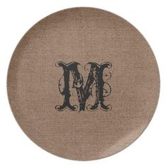 Rustic Burlap Black Monogram - Shabby Chic Party Plates