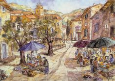 """Marché à Taverne (Ref/GIR033) by Philippe Giraudo - Reproduction 70 x 50 cm (19.75"""" x 27.60"""") - $ 24.99 Reproduction, French Riviera, French Artists, Painting, Painting Art, Paintings, Painted Canvas, Drawings"""