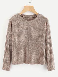 #ROMWE - #ROMWE Drop Shoulder Ribbed Marled Sweater - AdoreWe.com