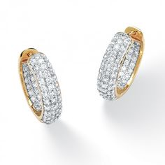 3.21 TCW Round Cubic Zirconia 14k Gold-Plated Huggie-Style Inside-Out Hoop Earrings at Viomart.com