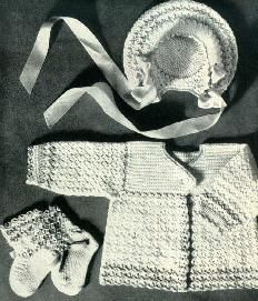 Shell Stitch Crocheted - Sacque, Cap, booties - crochet this outfit in size 6 months for your special baby.