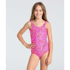 Billabong Unisex Girls Penny Paisley One Piece Swimsuit ($55) ❤ liked on Polyvore featuring swimwear, one-piece swimsuits, 1 pcs swim, pretty pink, one piece bikini, 1 piece bathing suits, swim wear, one-piece swimwear and bikini bathing suits