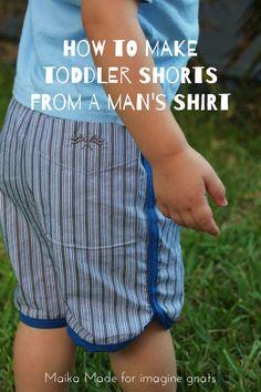 sewing: make toddler shorts from a man's shirt (imagine gnats) Sewing Men, Sewing Kids Clothes, Love Sewing, Sewing For Kids, Baby Sewing, Diy Clothes, Sewing Hacks, Sewing Tutorials, Sewing Patterns