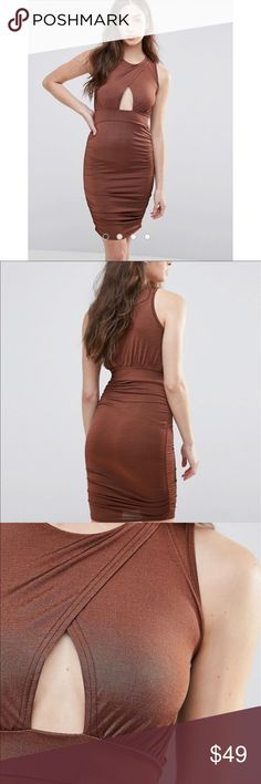 NWT Asos Bronze Bodycon Dress Brand new with tags never worn! Available in sizes 8 and 10, full details/measurements are in last photo! ASOS Dresses