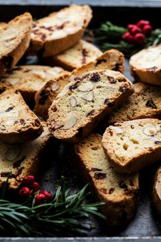 Vegan biscotti with almonds and cranberries.