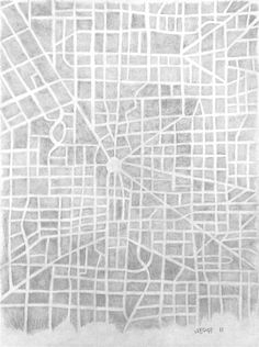 Check out this great artwork by Michael Wedge @UGallery http://www.ugallery.com/pencil-drawing-imaginary-city-map-5