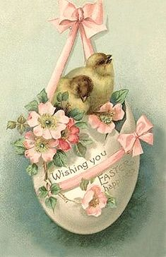 Free freebie printable vintage easter postcard egg, chicks