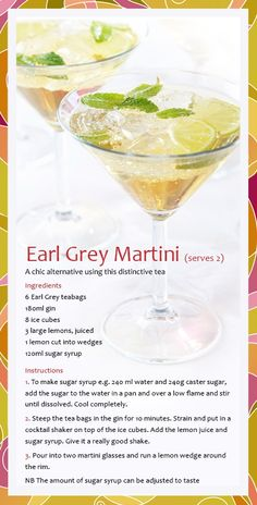 Combine my two favorite things tea and gin! Whittard Earl Grey Martini