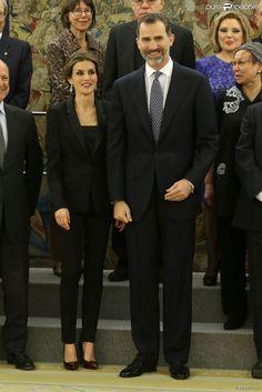 Le roi Felipe VI et la reine Letizia d'Espagne recevaient une délégation de participants du...
