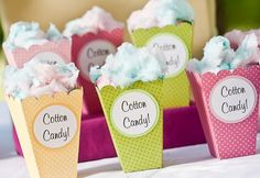 Cotton Candy Popcorn Cups for N & S's Birthday Popcorn Cups, Candy Popcorn, Popcorn Boxes, Pink First Birthday, First Birthday Parties, Birthday Ideas, Retro Birthday, Willy Wonka, Candy Party