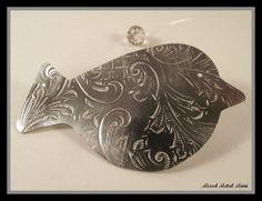 Christmas Ornament Silver Bird Ornament Holiday by mixedmetalmimi