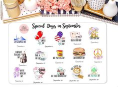 Special Days in SeptemberWacky Holiday Stickers for by StiandCo Days In September, Daily Holidays, Calendar Stickers, Happiness Project, Bucket Lists, Happy Planner, Special Day, Planners, Back To School