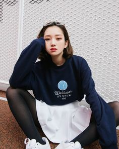 Get your Korean fashion clothes from mixxmix English website. International shipping is available for the latest and trendy Korean fashion style. Korean Fashion Ulzzang, Korean Street Fashion, Korean Outfits, Asian Fashion, Girl Outfits, Casual Outfits, Cute Outfits, Fashion Outfits, Tennis Skirts